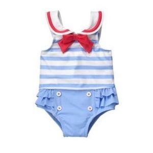 Gymboree Sailor Swimsuit 6-12 M Baby Girl w/ hat